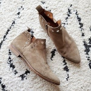 Corso Como Taupe Grommet Pointed Suede Booties 10